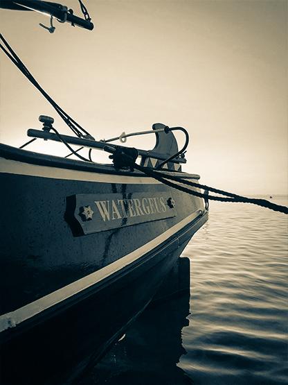 Föhr Geschichte Plattbodenschiff segeln im Sonnenuntergang